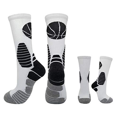 HIGHCAMP Elite Basketballsocken für Jungen und Mädchen, trockene Passform, warm, für Jungen und Damen geeignet, 2 Paar - Weiß - Large