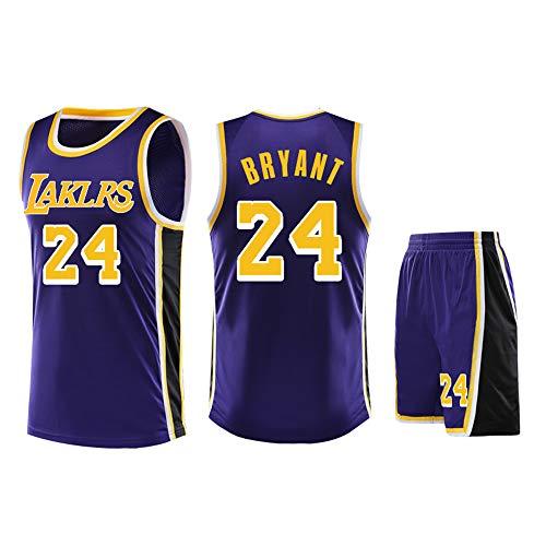 Usado para Kobe Bryant NO.24 Los fanáticos de Los Angeles Lakers Niños Niñas Camisetas de Pelota Azul Niños Adolescentes Trajes Deportivos Camisa + Top Corto de Verano Conjunto de Dos Piezas-Purpl