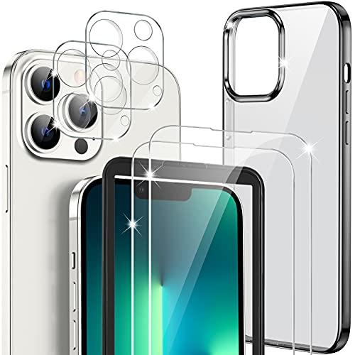GESMATEK funda compatible con iPhone 13 pro,con 2 piezas de Protector de Pantalla de Cristal Templado Compatible con iPhone 13 pro y 2 piezas de protector de lente de cámara,con Marco de Instalación.
