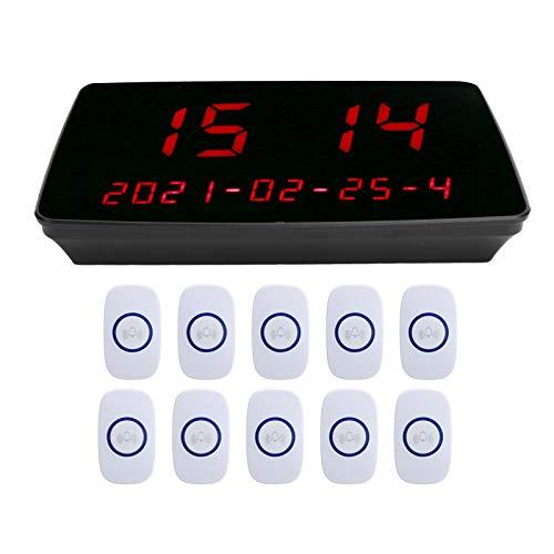 214 Localizador inalámbrico, Sistema Receptor de localizador de 1 a 10 Botones de Llamada, localizador de Restaurante Impermeable IPX4, para Restaurante/clínica/hogar de Ancianos, 110‑240 V(EU)