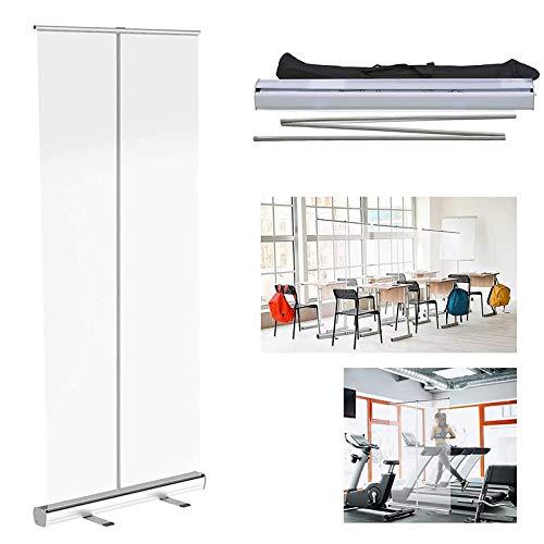 REXX 80 * 180cm Mampara Protectora Enrollable, Mampara Protectora Portátil, Plegable Protección De PVC Transparente, para Restaurantes, Peluquerías, Gimnasios