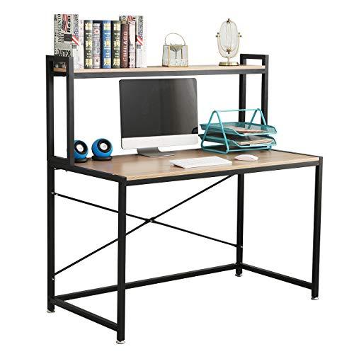 SDHYL 47.2 inches Computer Desk Home Office Desk Student Desk Dorm Rooms Desk with Shelves, S7-DX- 2025OB-CA