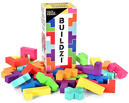 BUILDZI by TENZI - The Fast Stacking Building Block Game for The Whole Family - 2 to 4 Players Ages 6 to 96 - Plus Fun Party Games for up to 8 Players