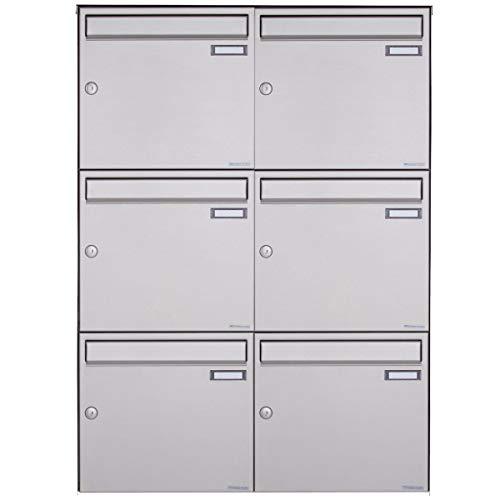 6er Edelstahl Aufputz Briefkastenanlage - 6 fach Wandbriefkasten Design BASIC 382A-VA (Edelstahl V2A, 6 Parteien, senkrecht)