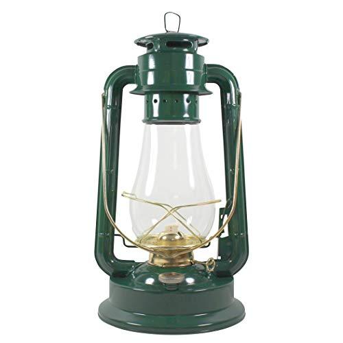 Heinze Petroleumlampe Garden, Grosse Sturmlaterne aus Schweden, grün, mit Messingelementen, Höhe 38 cm, Einfülldeckel mit Kindersicherung, Leuchtdauer ca. 29 Std.