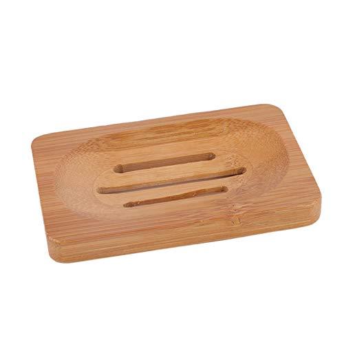 YunShiXx Caja de jabón de Madera Soporte de Almacenamiento de Plato de jabón de Madera Natural para Ducha de baño, Plato de jabón, esponjas y más(7.9 * 12CM Dark Wood Color)