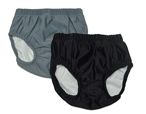 My Pool Pal Unisex-Adult's 2 Pack Swim Brief/Diaper Cover, Black/Gray, Large