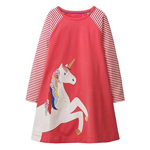 VIKITA Mädchen Kleider Streifen Langarm Baumwolle Herbst Winter T-Shirt Kleid JM7659, 6-7 Jahre (122cm)