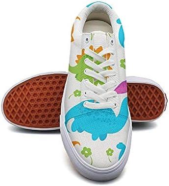GirlColorful Pop Dinosaur Party Canvas Shoes Low-Cut Straps Unique Sneakers Suitable for Walking