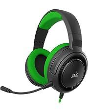 Corsair HS35 - Auriculares Stereo para Juegos (Membrana Neodimio de 50 mm, Micrófono Unidireccional Extraíble, Estructura Ligera, Compatible con Xbox One, PS4, Nintendo Switch y Móviles), Verde