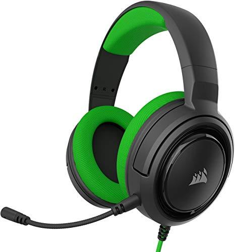 Corsair HS35 Stereo Gaming Headset (50mm Neodym Lautsprecher, Abnehmbares Unidirektionales Mikrofon, Federleichtes Design, für Xbox One, PS4, Nintendo Switch und Mobilgeräte) grün