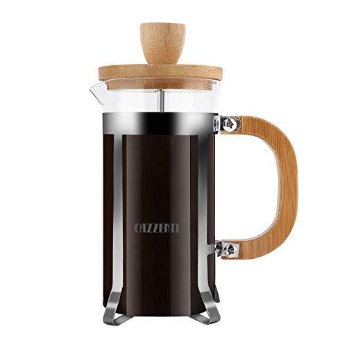 Cazzenie Prensa Francesa de Vidrio con acabado de madera para preparar café o tisana. Clásica Cafetera Francesa disponible en 350 ml (1 Taza) y 600 ml (2 Tazas). French press. (350 ml)