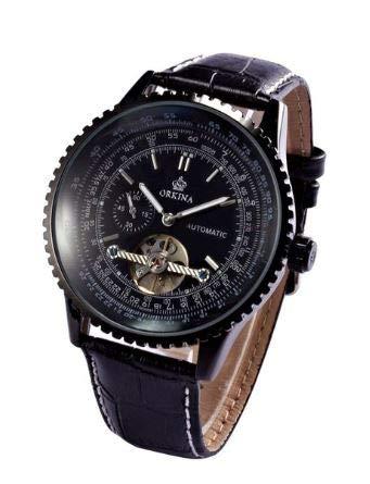 Orkina Armbanduhr, Gehäuse aus Edelstahl, mit Datumsanzeige, mechanisches Automatikuhrwerk, Lederarmband, Schwarz