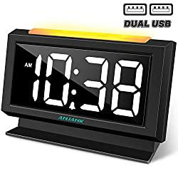 ANJANK Digital Alarm Clock for Bedrooms, Easy Night Light,Large Numbers with LED Display Dimmer,Dual USB Charger Ports,AC Powered Compact Clock for Desk,Bedside,Nightstand(Black)