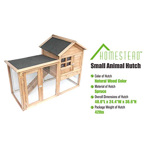 Homestead Solid Spruce Wood Small Animal Hutch