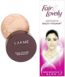 Lakme Rose Face Powder, Soft Pink, 40g & Fair & Lovely Advanced Multi Vitamin Face Cream, 110 g