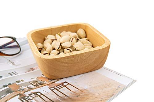 Wooden Square Bowl,Wood Serving Bowl,Salad,Fruit,Dessert,Cereal,Nut Cookies Bowl,Home Kitchen Decoration 5.9'