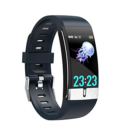 Reloj de fitness táctil completo, monitor de temperatura corporal Banda inteligente ECG PPG pulsera ritmo cardíaco reloj inteligente Mensión de la presión arterial Pulsera de aptitud deportiva,Azul