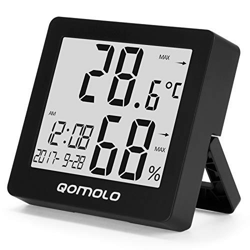 Qomolo Termómetro Higrometro Digital con Reloj,Mini Interior Estación meteorológica ℃/ ℉ Conmutable Medidor de Temperatura Humedad con Reloj Despertador luz de Fondo, para Habitación Casa Oficina