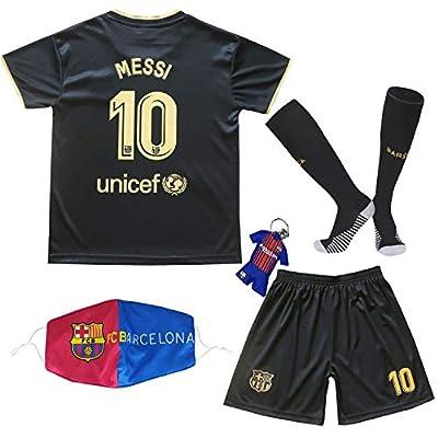 BIRDBOX Youth Sportswear Barcelona Leo Messi 10 Kids Away Soccer Jersey/Shorts Bag Keychain Football Socks Set (Black, 7-8 Years)