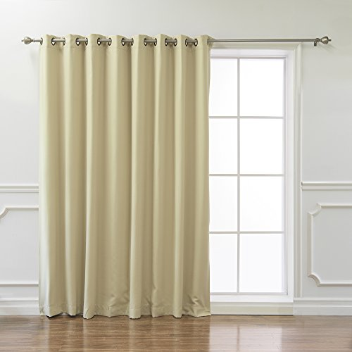 """Best Home Fashion Wide Width Thermal Insulated Blackout Curtain - Antique Bronze Grommet Top - Beige - 100"""" W x 96"""" L - (1 Panel)"""