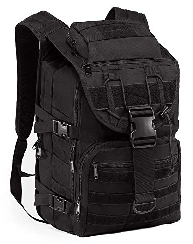SUPERSUN Militär-Rucksack, 35 l, groß, wasserdicht, Molle-Bug-Out-Tasche, Armee, 3 Tage, Schwarz