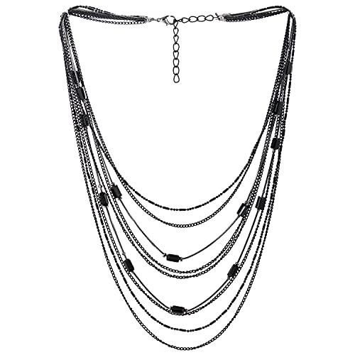 COOLSTEELANDBEYOND Negro Statement Choker Cuello Collares Collar Cascada Multi Capas Cadena Rectángulo...