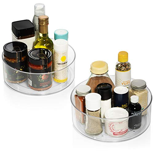 ClearSpace Plastic Lazy Susan Cabinet Organizer – Perfect Under Sink Organizer – Pantry Cabinet Organizer and Organization for Countertop, Shelf, Table, Vanity and Bathroom – 2 Pack