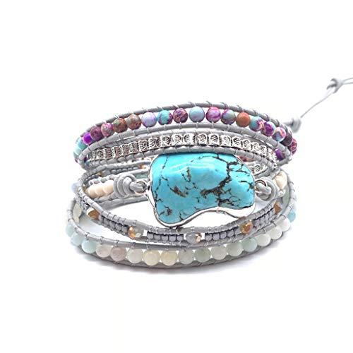 YU-HELLO_Boho Handmade Natural Stone Crystal Hematite Bead Turquoises Mixed Wrap Bracelet
