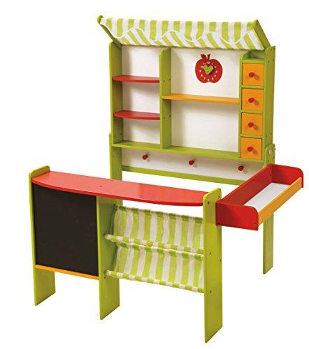 roba Tienda 'Mercado Stand' Incluye Accesorios, niños Kaufmann Carga, Madera Verde/Rojo, Puesto de Venta con mostrador, Pizarra, Aspecto mostrador, toldo, & Tienda Accesorios