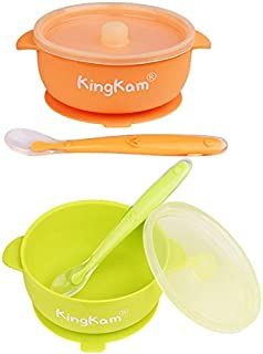 2 Pack Baby Bowls, Best Suction Bowls with Lid for Baby Toddler Self-Feeding, 100% Safe Leak-Proof Silicone Bowl, Dishwasher & Microwave Safe