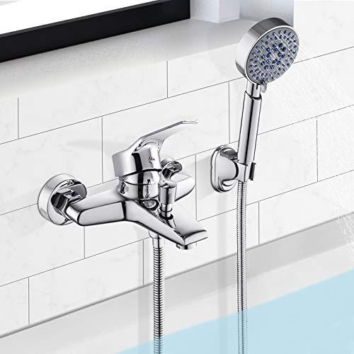 BONADE Wannenarmatur Badewannenarmatur mit Handbrause Chrom Einhand-Wannenbatterie mit 5 Strahlarten Badewanne Wasserhahn Messing Wannenmischer Duscharmatur Wandmontage für Badezimmer