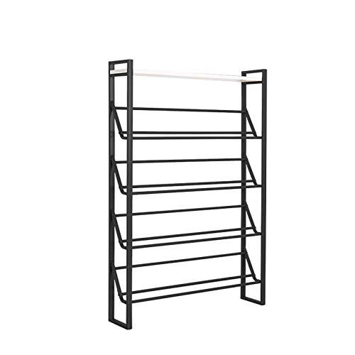 El almacenamiento en zapatero es simple y práctico Inicio zapatero zapatero multifuncional ahorra espacio de 5 pisos de metal zapatero fácil de montar Adecuado para Hall de Entrada / Living / pantufla
