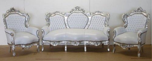 Barock Sofa Garnitur Weiß Lederoptik/Silber + 2 Sessel - Wohnzimmer Barock