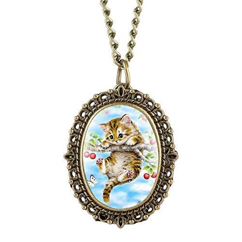 XIAOJIAN Exquisito reloj de bolsillo: reloj de bolsillo, encantador patrón de gato lindo oval de tamaño pequeño, relojes elegantes, relojes, con collar, colgante, Reloj Regalos, COMO CÓDIGO DE MODITY: