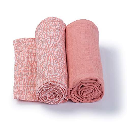 Urban Kanga Teli Mussole Neonato 120 X 120 cm Confezione da 2 (Rosa)