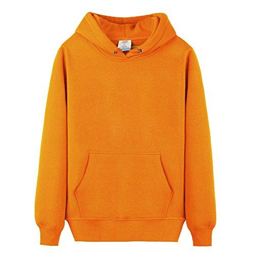 Unisexe Casual Sweat à Capuche Couleur Unie T-Shirts à Manches Longues Tops Orange L