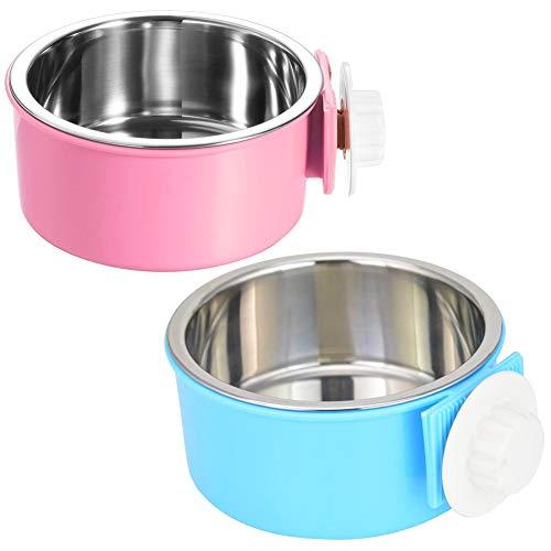 FANDE Fressnapf für Hund, 2 Stück Futternapf für Käfige Futter-Napf Katze Edelstahl Lebensmittel Wasser Schalen für Hunde Katzen mit Schraubbefestigung zum Einhängen 2 in 1