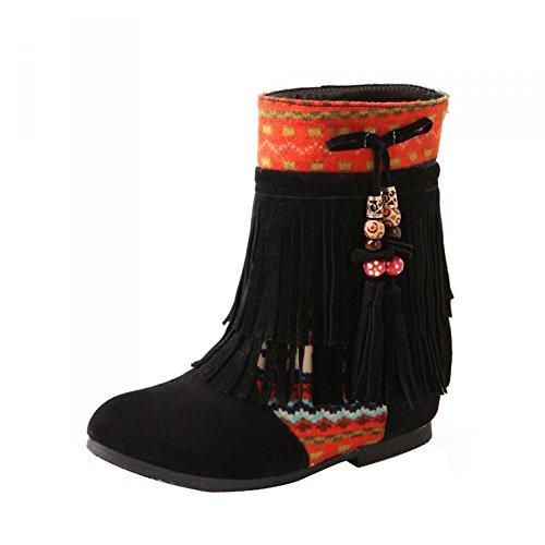 Minetom Mujer Otoño Invierno Cuero Nobuck Calentar Botas De Flecos con Cuentas Zapatos Cargadores Cómodo Botines Negro EU 37
