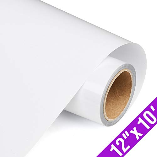 TransWonder Vinyl Heat Transfer 12 x 10, Iron on HTV Vinyl White Roll Vinyl for T-Shirt Clothing(Matte White)