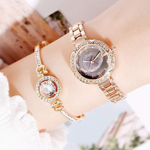 QWRjj Uhren Frauen Uhren Mode Geometrische Armreif Armband Quarzuhr Damen Armbanduhr Rose Gold-Rose_Black_Set
