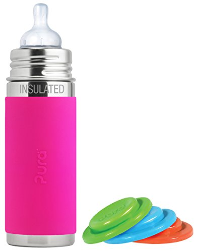 Amazing Deal Pura Kiki Stainless Steel Vacuum Insulated Infant Bottle, Pink, 9 Ounce, Plus Set of 3 ...