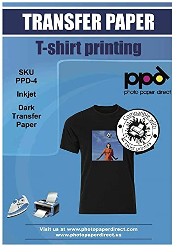PPD Inkjet PREMIUM Iron-On Dark T Shirt Transfers Paper LTR 8.5x11' pack of 100 Sheets (PPD004-100)