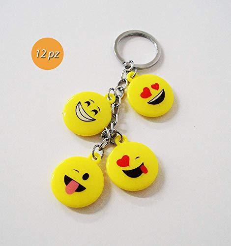 takestop® Set van 12 snoepjes bonnière hanger 4 ronde medaillons emoji emoticon sleutelhanger sleutelhanger verjaardag 18 jaar communie