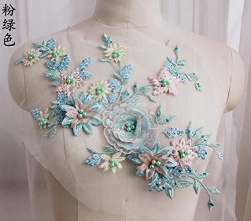 DACCU 1 Stück Blumen mit Strass Applique Perle Brautkleid Spitze Stickerei Patches DIY Spitze Kragen Ausschnitt Dekorieren Nähen Handwerk, rosa grün