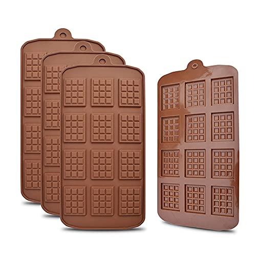 EXQULEG 4 stampi in silicone per cioccolatini e cialde di qualità alimentare, antiaderenti e barrette energetiche, per caramelle, cioccolato, cubetti di ghiaccio, gelatine (waffelform A)