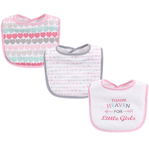 Luvable Friends Unisex Baby Cotton Drooler Bibs with Fiber Filling, Girl Thank Heaven, One Size