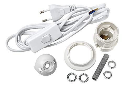 VBS Lampenfassung-Set für Tischlampen und Hängelampen E27 mit Schalter und Gewindestange Weiß