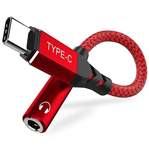APETOO USB C to 3.5mm Adapter for Galaxy S20 FE, Type C to 3.5mm Female Headphone Jack Adapter Aux Cable for Samsung Galaxy S20 Ultra S20 Plus Note 10+,Google Pixel 4 3 2 XL,OnePlus Nord 8 7 Pro Red