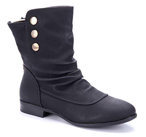 Schuhtempel24 Damen Schuhe Flache Stiefeletten Stiefel Boots schwarz Blockabsatz 2 cm